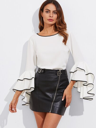 Wave Tape Trim Bow Back Layered Sleeve Top