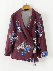 Surplice Neckline Tie Floral Blouse
