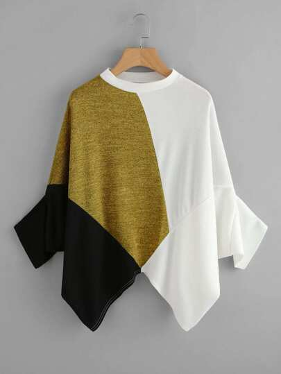 Color Block Asymmetric Hem Tee