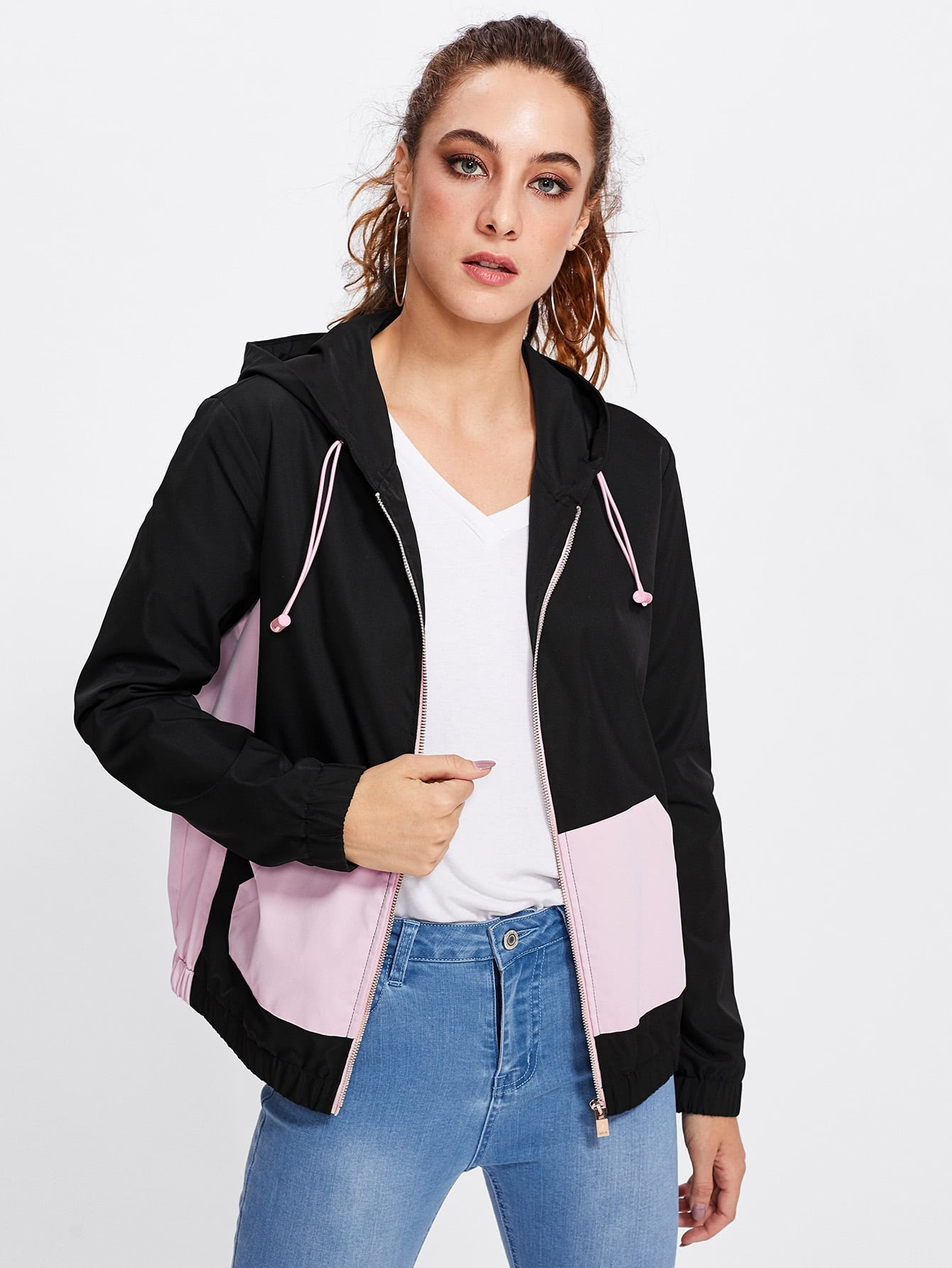 Two Tone Zip Through Hoodie Jacket