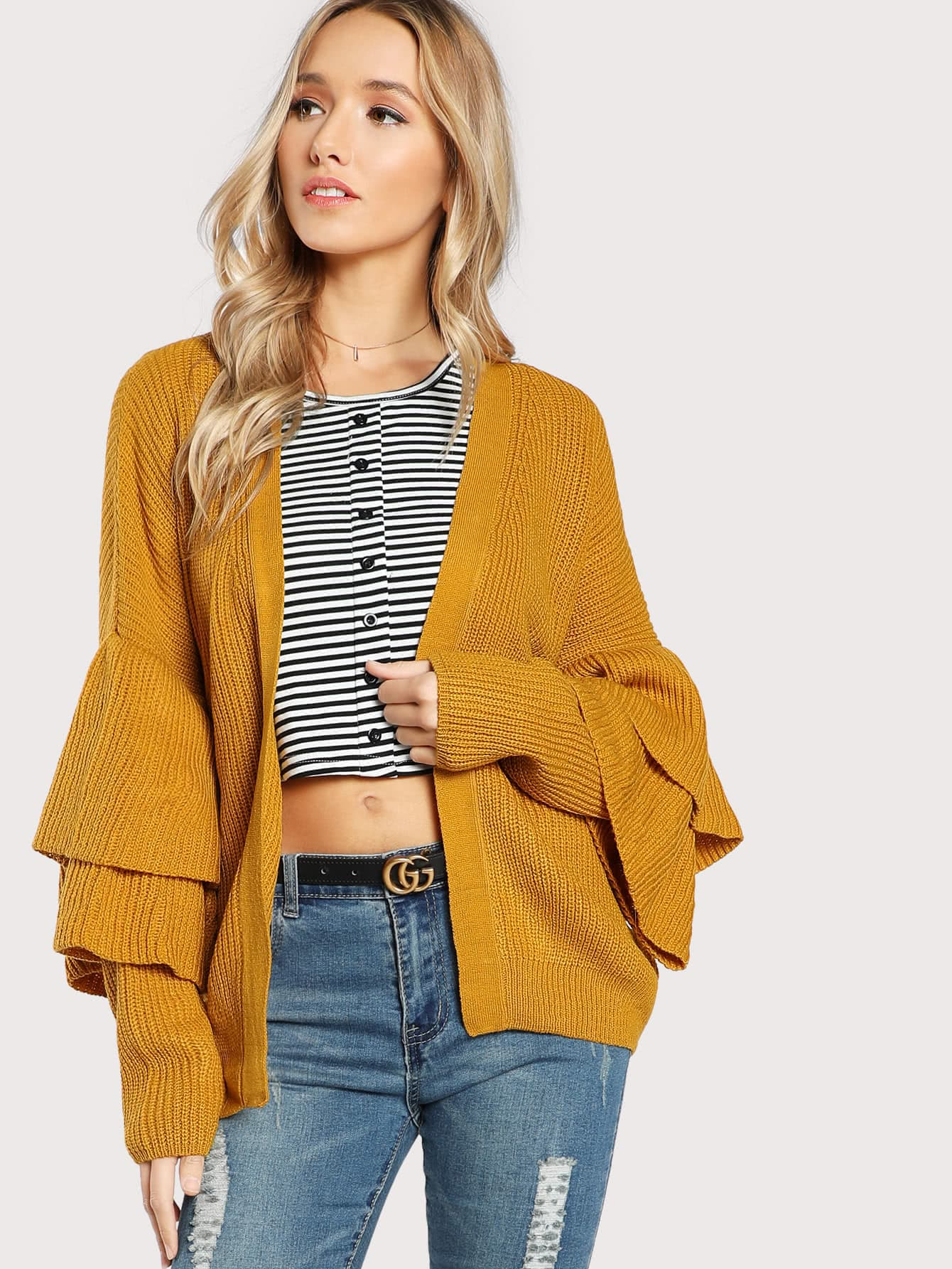 Tiered Sleeve Cardigan Sweater MUSTARD -SheIn(Sheinside)