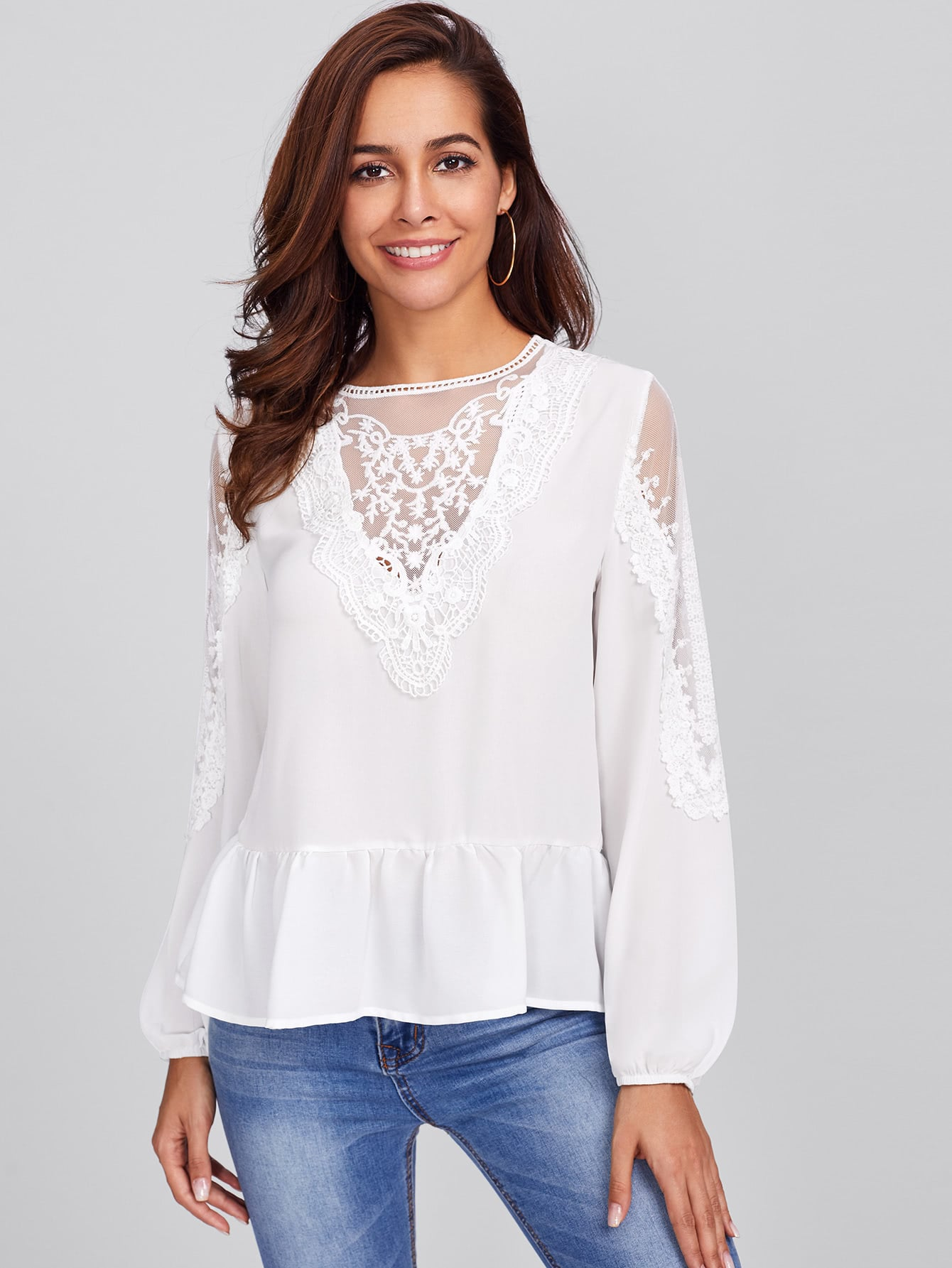 Embroidered Mesh Panel Lace Detail Frilled Top frill detail crochet insert embroidered mesh top