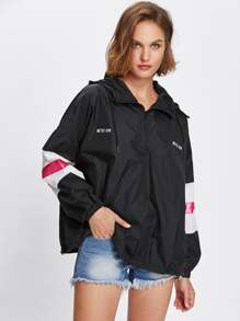 Varsity Print Hooded Anorak Jacket