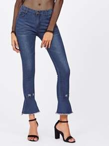 Raw Hem Flare Jeans
