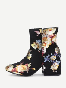 Block Heeled Floral Boots