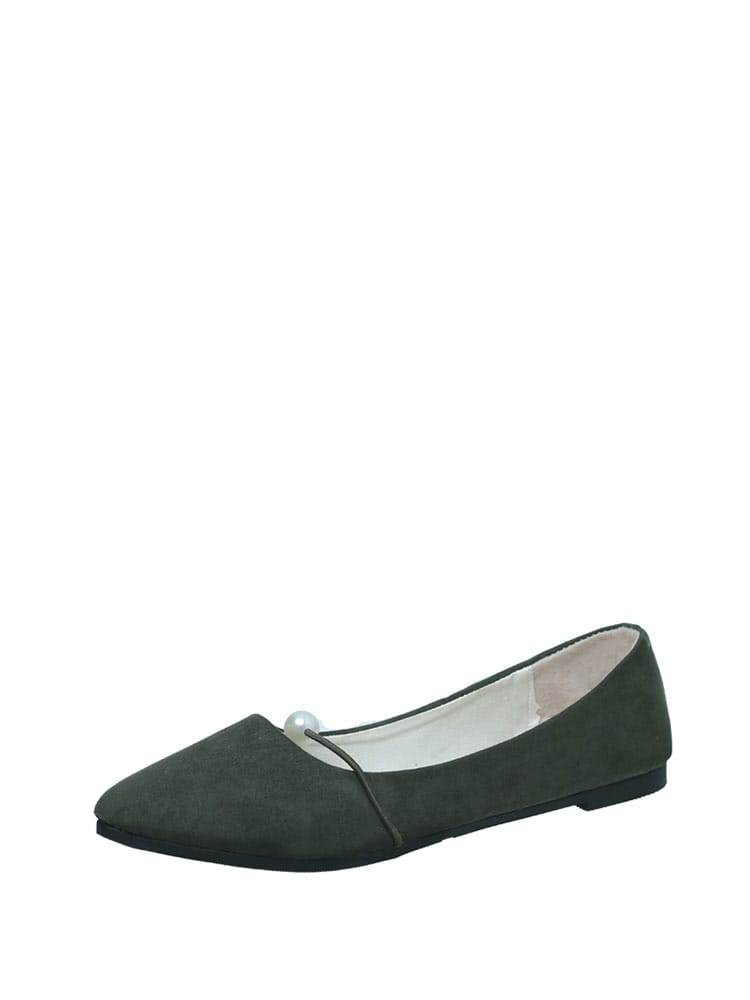 Faux Pearl Detail Point Toe Suede Flats