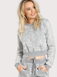 Jersey Knit Distresssed Marble Sweatshirt GREY