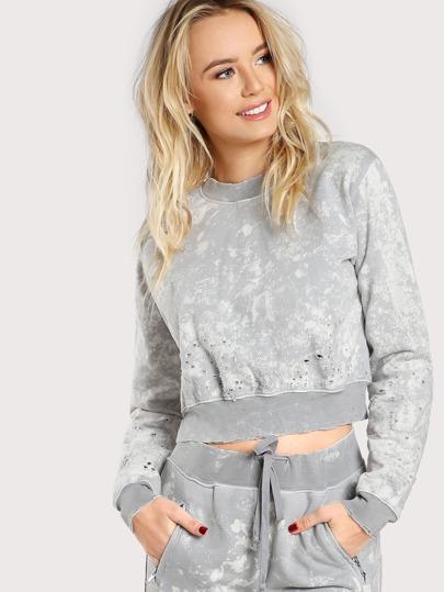 Jersey Knit Distresssed Marble Sweatshirt GREY