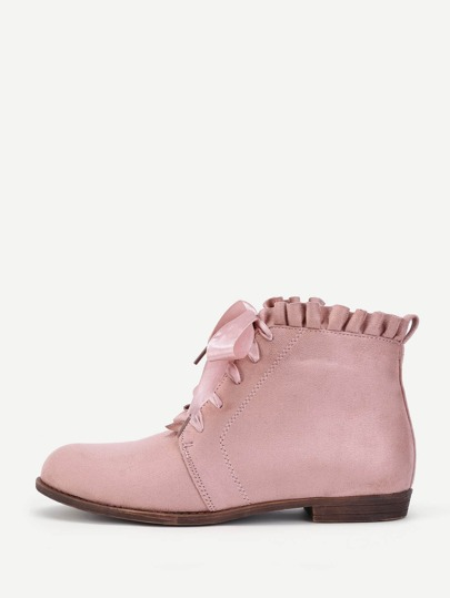 Lace Up Lettuce Trim Flat Boots