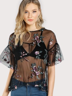 Floral Embroidered Trumpet Sleeve Sheer Top BLACK