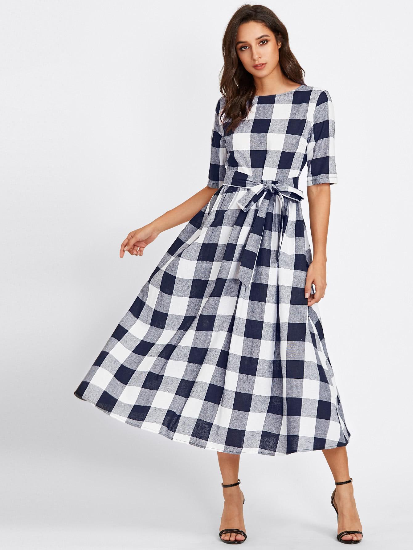 все цены на Buttoned Keyhole Self Tie Checkered Dress