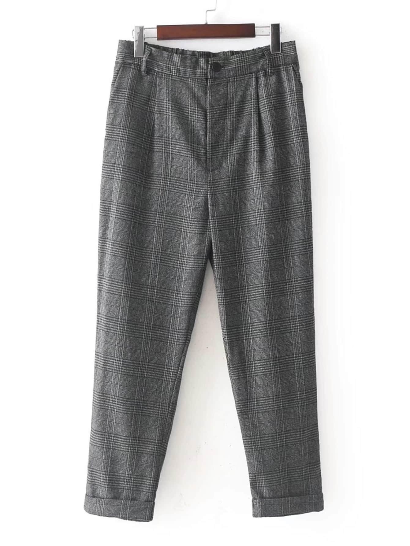 Image of Glen Plaid Cuffed Pants