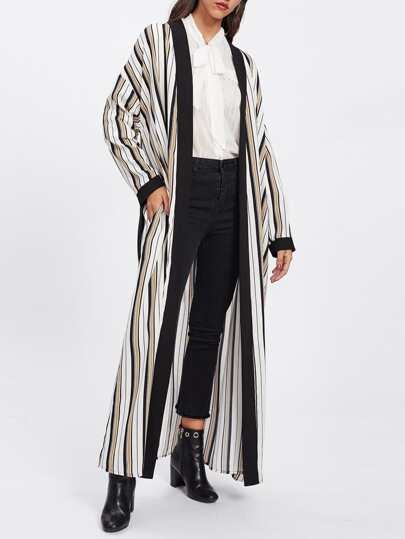 Contrast Trim Belted Striped Abaya