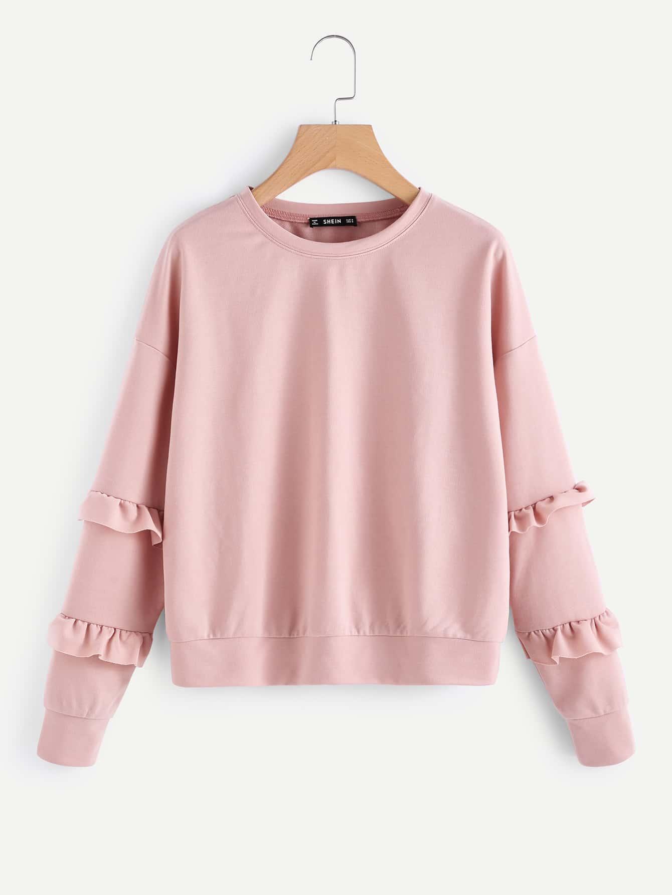 Drop Shoulder Frilled Sleeve Sweatshirt drop shoulder frilled sleeve sweatshirt