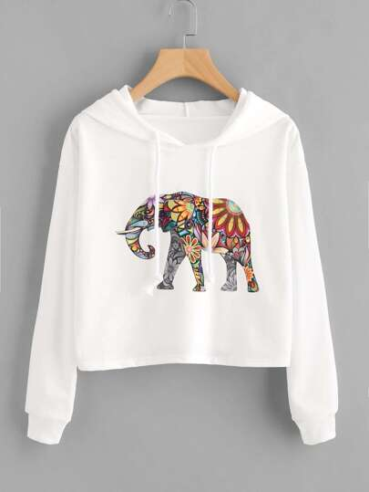 Hooded Drawstring Elephant Print Sweatshirt