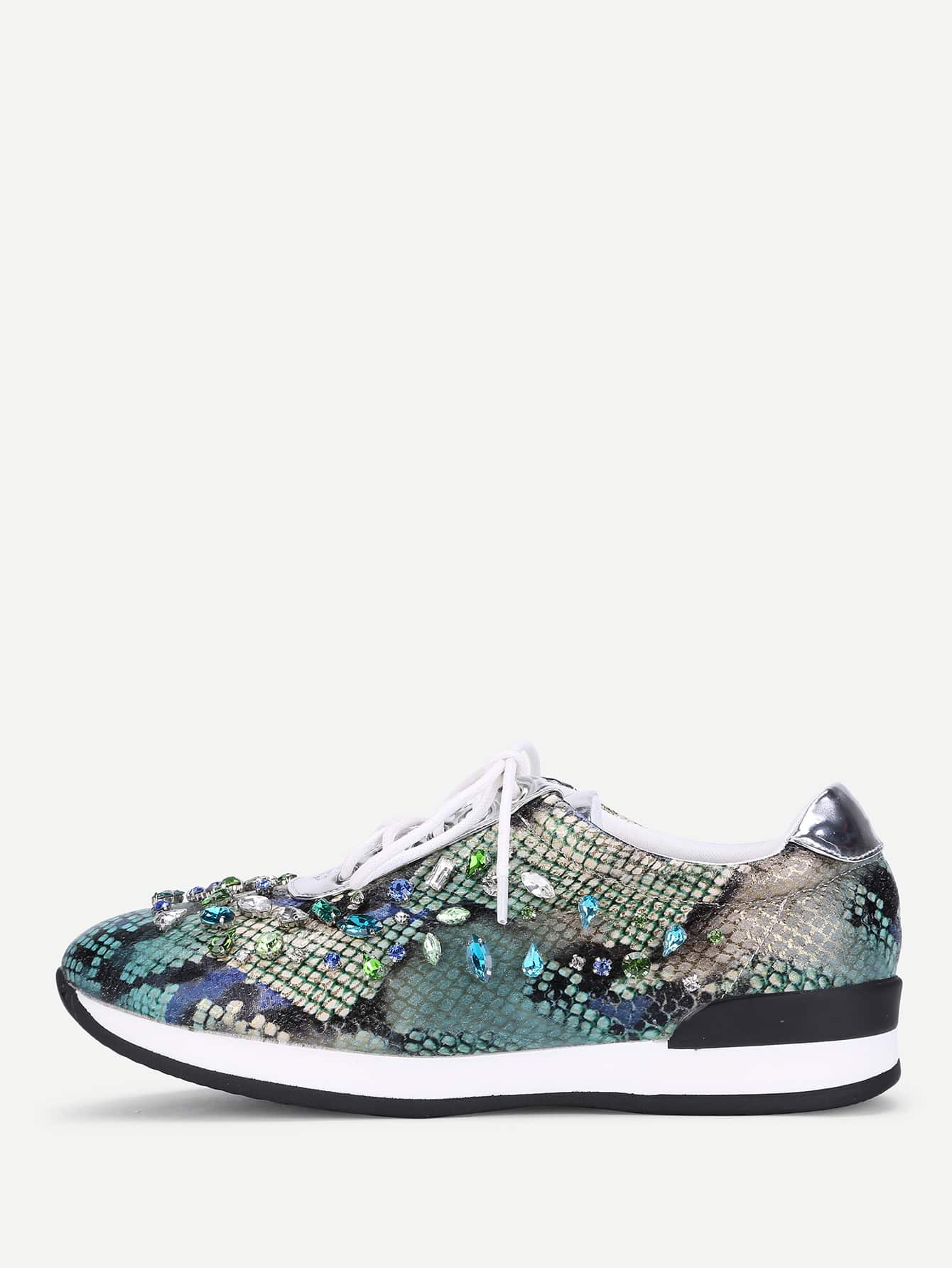 Rhinestone Decorated Lace Up Sneakers st decorated up