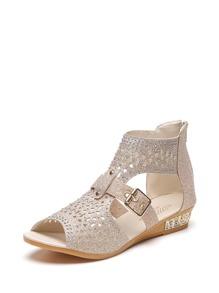 Cutout Rhinestone Design Ankle Strap Sandals