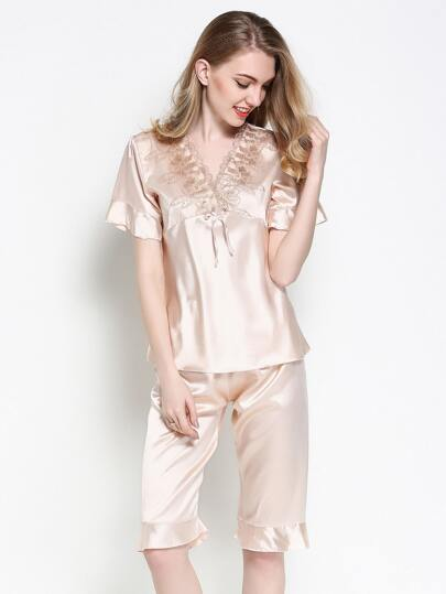 Embroidered Mesh Frill Trim Satin Pajama Set