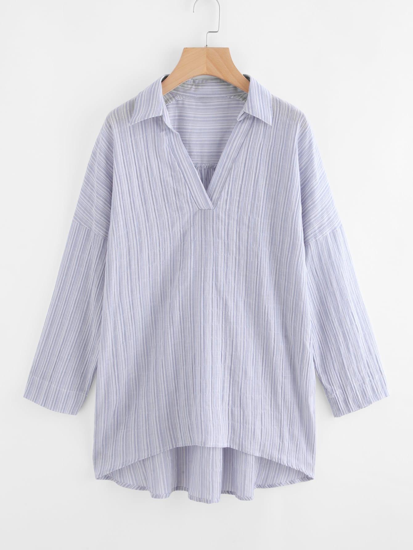 V Placket Drop Shoulder Striped Shirt twist front half placket drop shoulder blouse