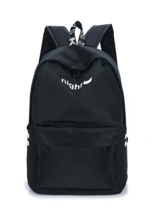 Night & Moon Print Side Striped Backpack