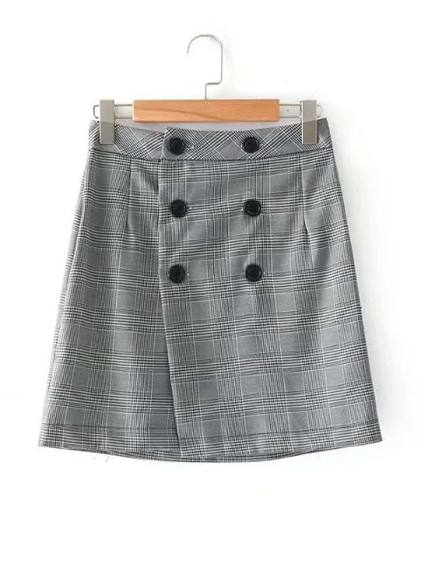 Double Breasted Wrap Glen Plaid Skirt