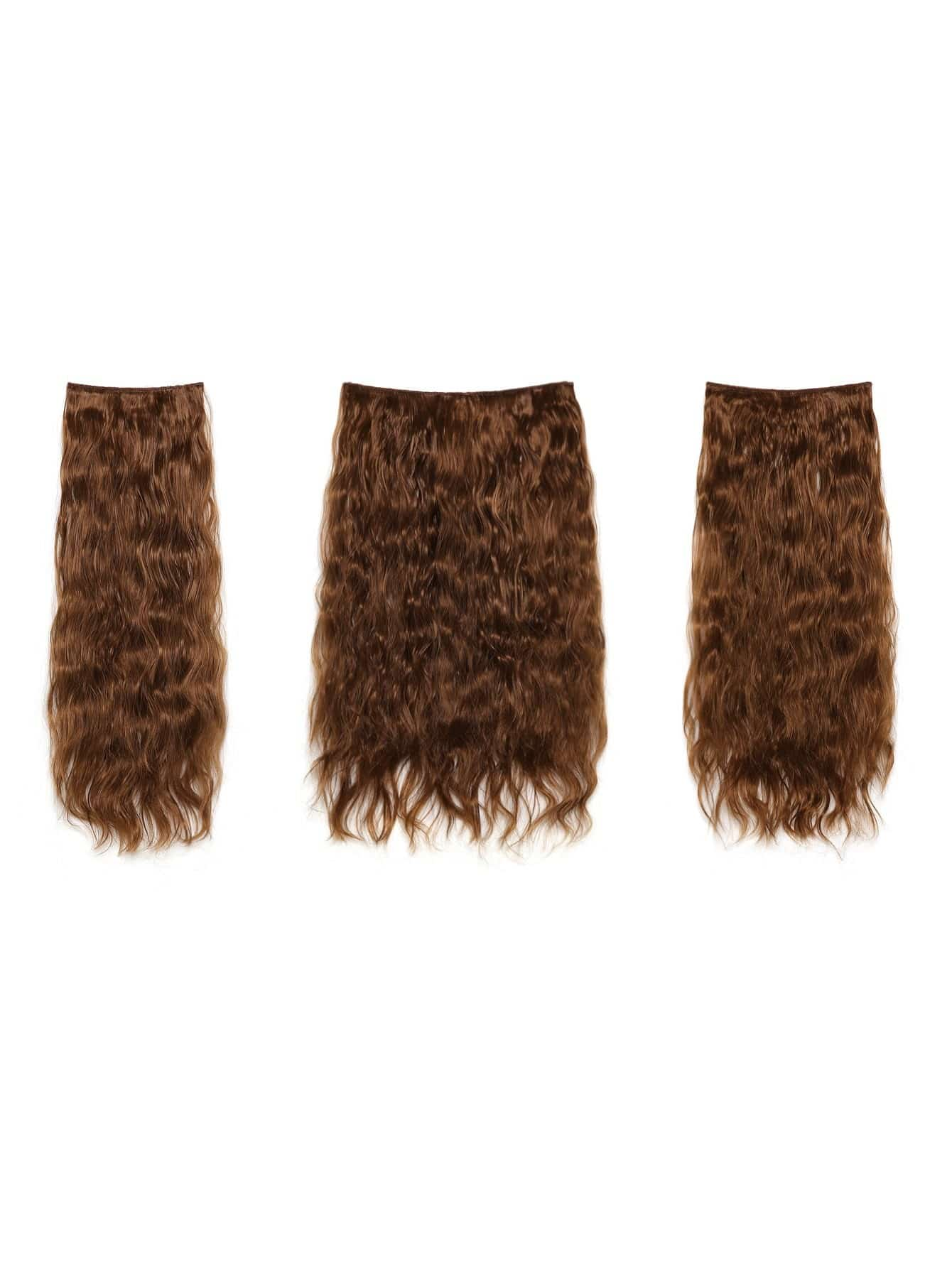 Golden Brown Clip In Curly Hair Extension 3pcs globe panther golden brown fur