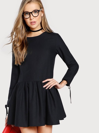 Tie Cuff Drop Waist Dress
