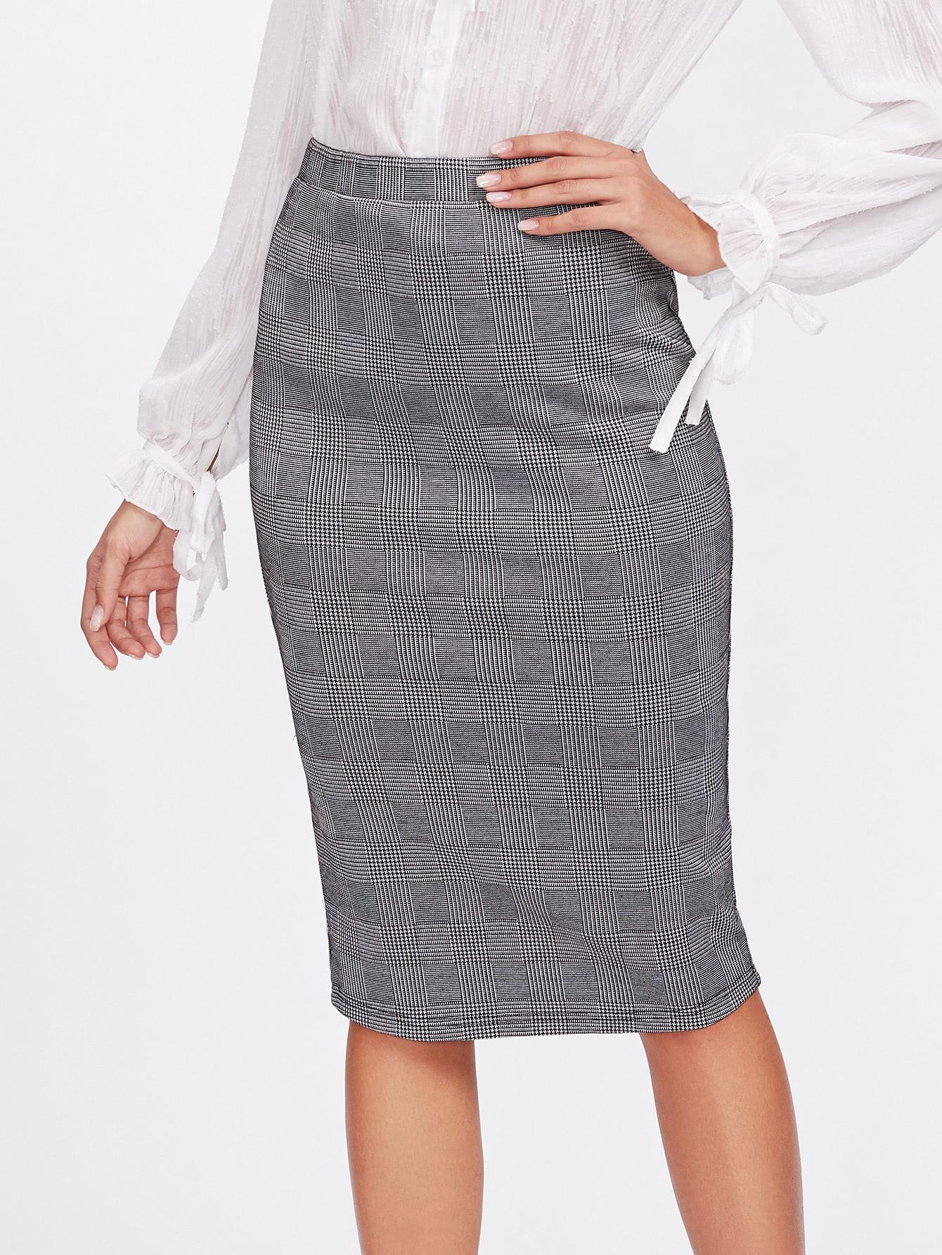 Vented Back Plaid Pencil Skirt split back plaid skirt