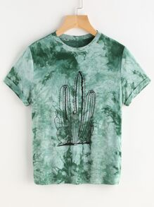 Green Tie Dye Print Short Sleeve T-shirt
