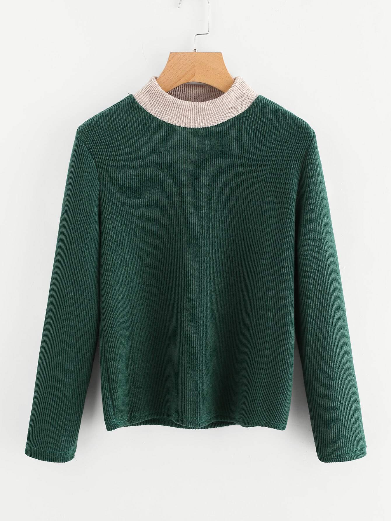 Contrast Trim Ribbed Knit Sweater