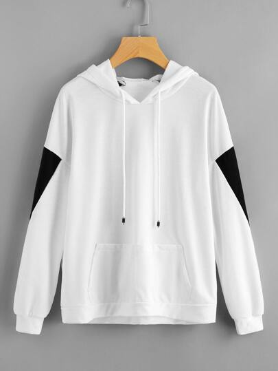 Cut And Sew Kangaroo Pocket Sweatshirt