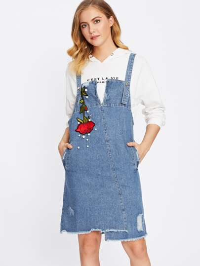 Rose Embroidered Frayed Hem Denim Overall