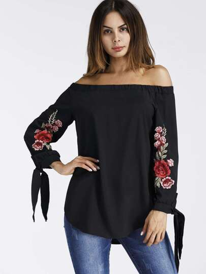 Bardot Embroidered Appliques Tie Cuff Top