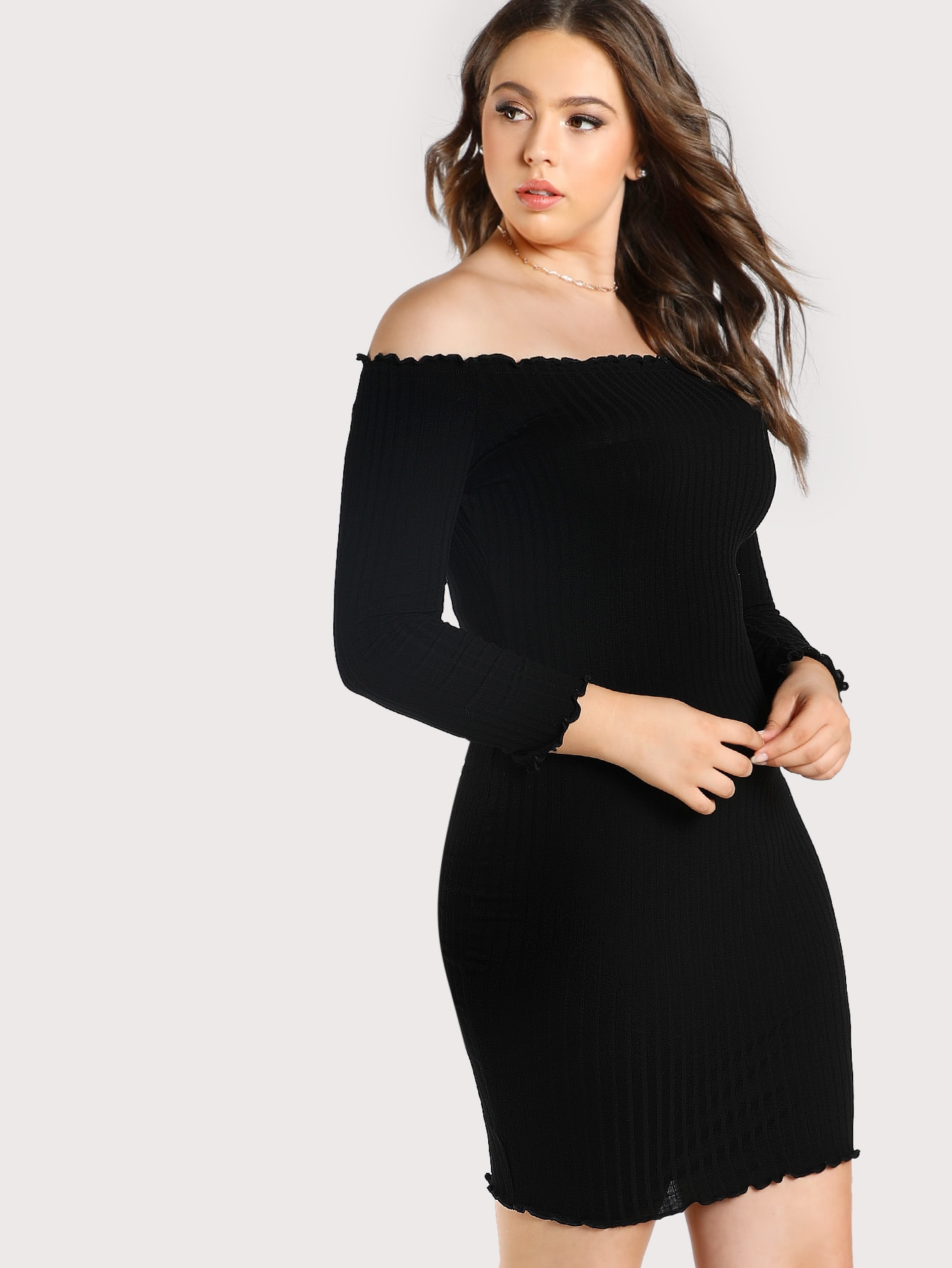 Rib Knit Off Shoulder Dress mmc-bld1398-blk