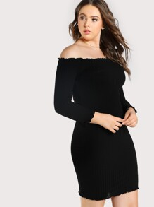 Off Shoulder Quarter Sleeve Dress BLACK