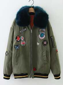 Patch Embellished Faux Fur Flight Jacket