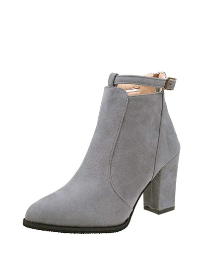 Almond Toe Block Heeled Suede Boots