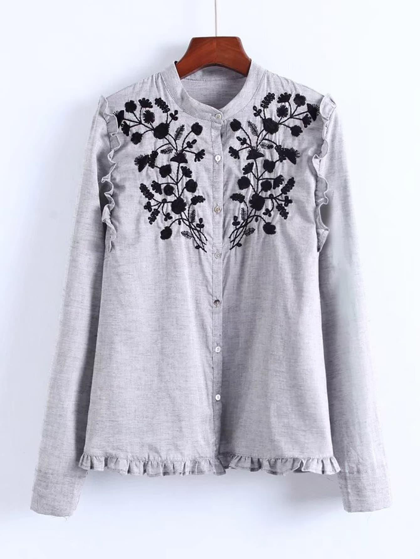 Купить Модная блуза с оборкой и вышивкой, null, SheIn