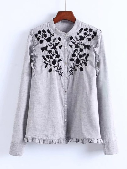 Ruffle Trim Embroidered Blouse