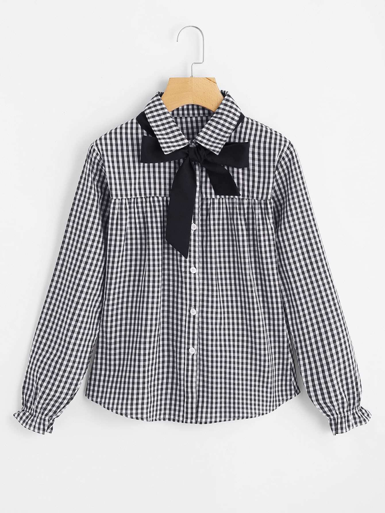 Contrast Bow Tie Gingham Blouse contrast embroidered mesh yoke bow tie striped blouse