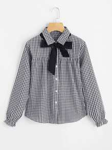 Contrast Bow Tie Gingham Blouse