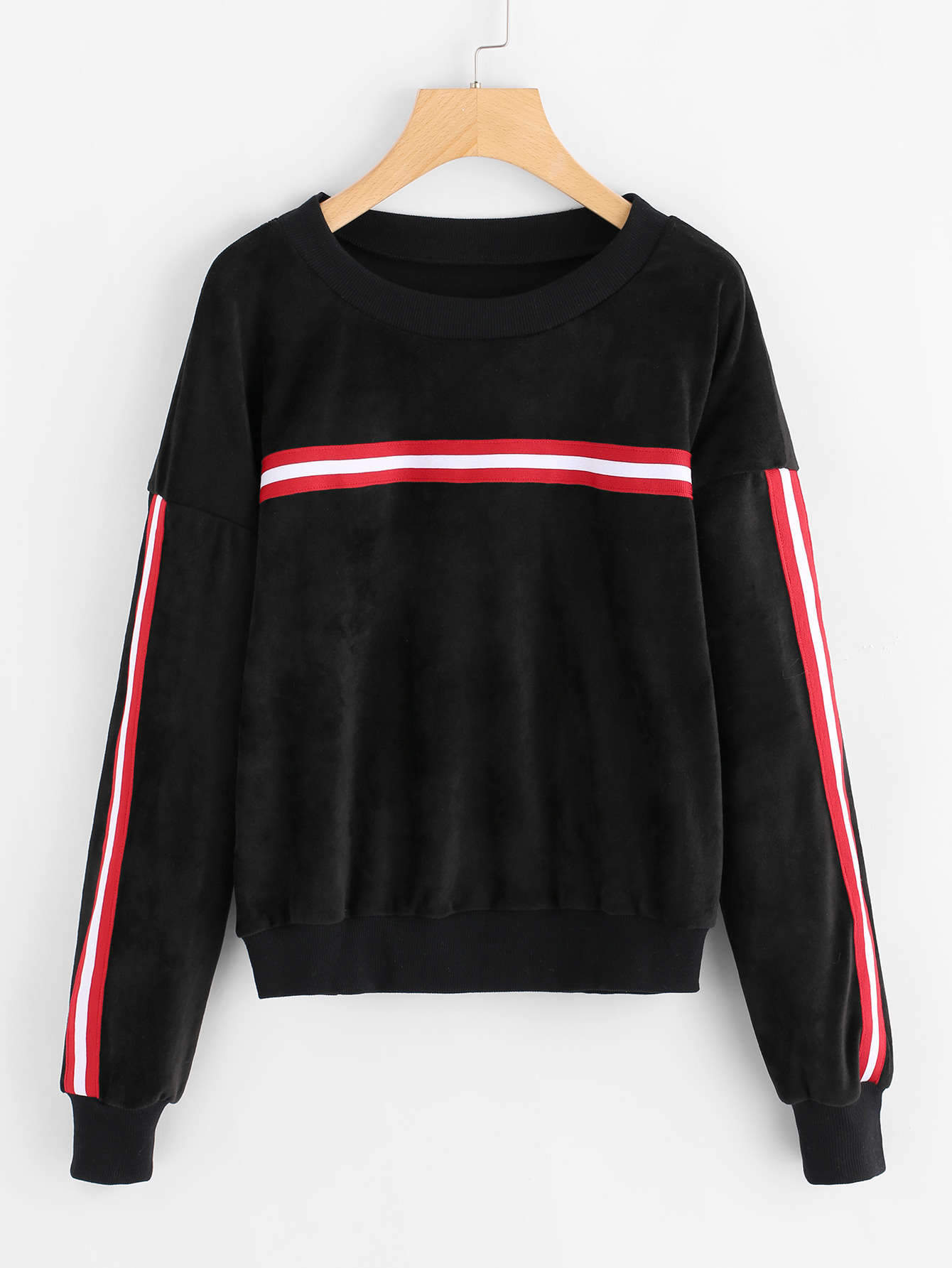 Stripe Contrast Drop Shoulder Velvet Sweatshirt solid state relay ssr 25da 25a 5 24v dc to 24 380v ac ssr 250a 6 20ma