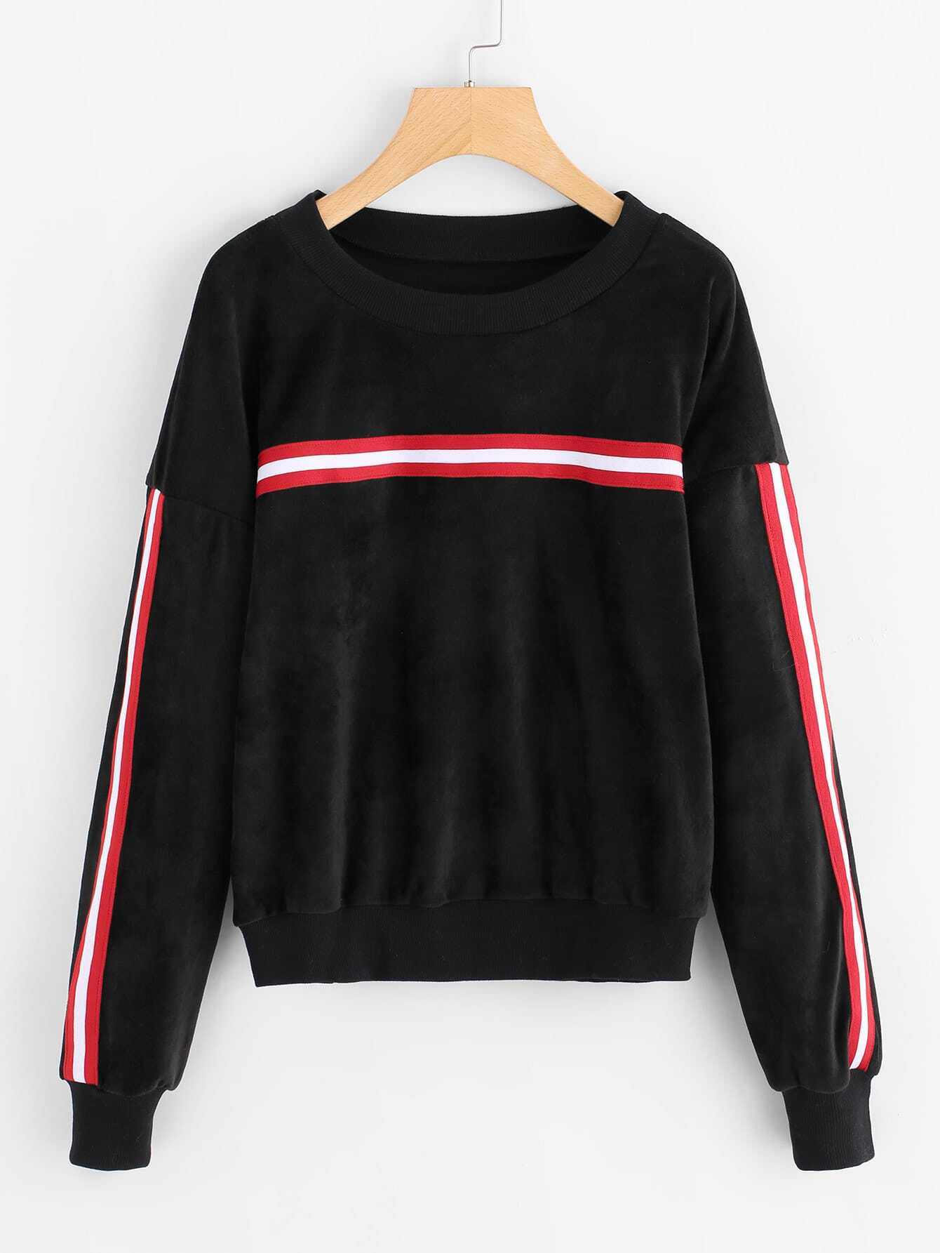 Stripe Contrast Drop Shoulder Velvet Sweatshirt drop shoulder grommet tie detail sweatshirt
