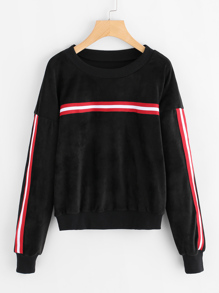 Stripe Contrast Drop Shoulder Velvet Sweatshirt