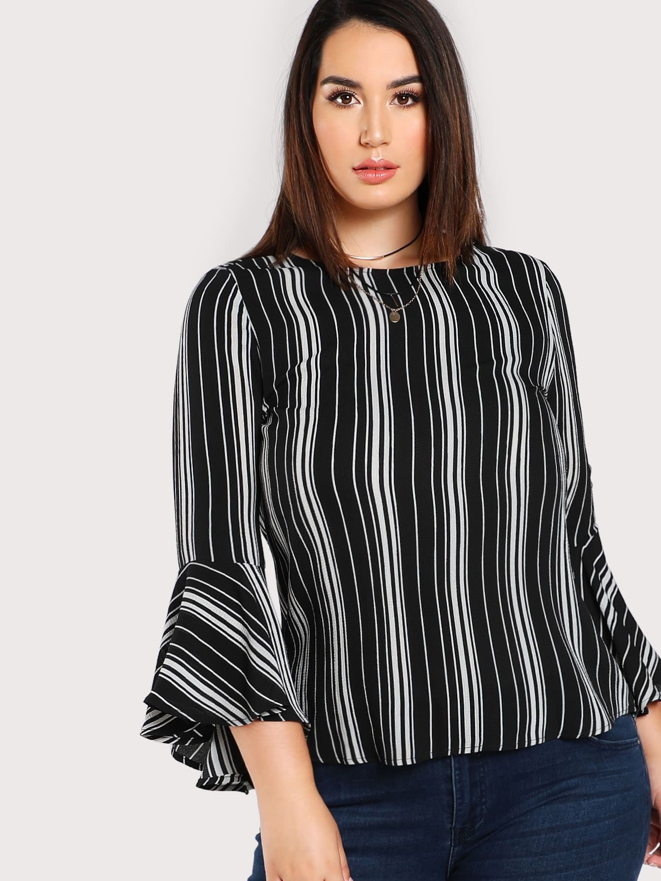 Plus Trumpet Sleeve Striped Top