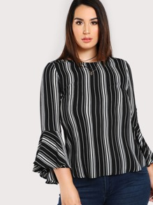 Trumpet Sleeve Striped Top