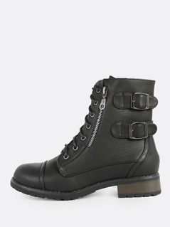 Lace Up Buckle Combat Boots BLACK