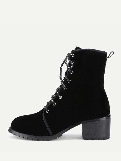 Lace Up Velvet Ankle Boots