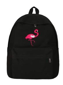 Flamingo Embroidery Zip Pocket Backpack