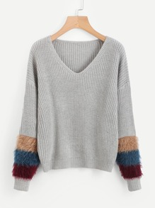 V Neckline Fur Cuff Sweater